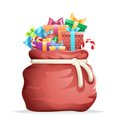 bag full gifts christmas new year winter holiday vector image