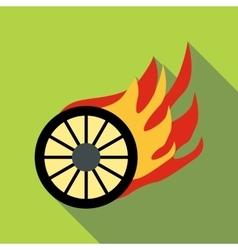 Burning wheel icon flat style vector image