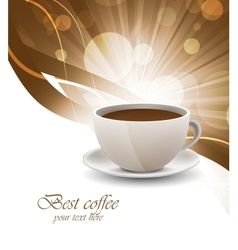 Coffee cup on bright background vector image vector image