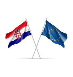 croatia and european union waving flags vector image