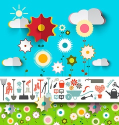 Garden Tools Icons Flowers Design on Blue Sky with vector image