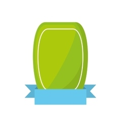 green shield empty blue ribbon vector image vector image