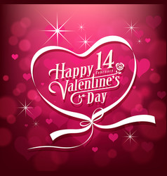 happy valentine day white message design vector image vector image