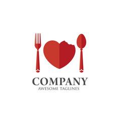 love food logo template vector image