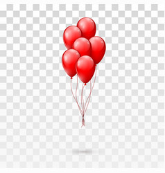 red glossy balloons bunch isolated on transparent vector image