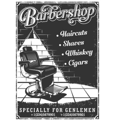 Vintage barbershop poster with barber chair vector