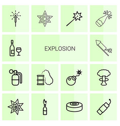 14 explosion icons vector