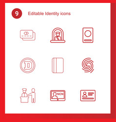9 identity icons vector image