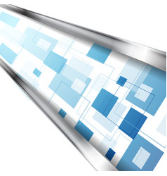 abstract blue tech squares with silver stripes vector image