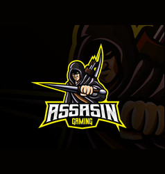 assassin mascot sport logo design vector image