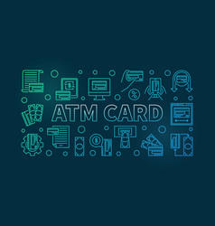Atm card outline colored horizontal banner vector