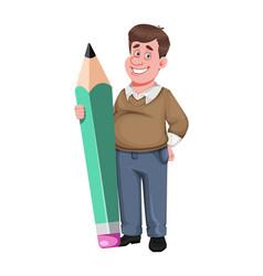 Back to school cheerful male teacher vector