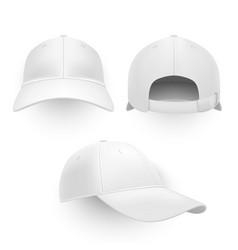 baseball cap hat realistic mockup set vector image