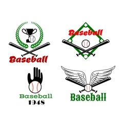 Baseball emblems with crossed bats and balls vector image