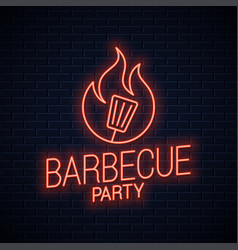 bbq neon sign barbecue neon banner on wall vector image