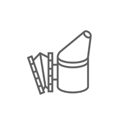 Bee hive smoker line icon vector image