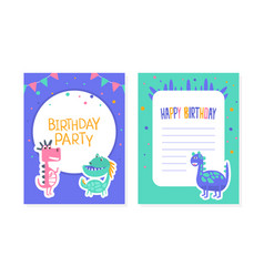 birthday party card with cute colorful dinosaurs vector image