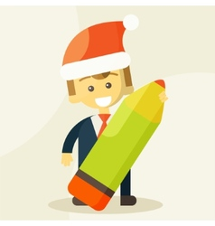 Businessman holding a pencil and christmas hat vector