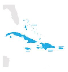 Caribbean region map countries in caribbean vector
