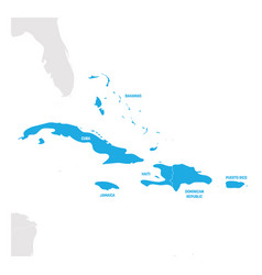 Caribbean region map of countries in caribbean vector