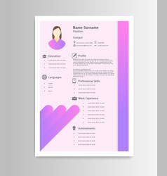 cartoon feminine resume business work elements vector image