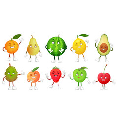 cartoon fruit character happy fruits mascot funny vector image