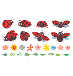 Cartoon ladybug cute ladybugs with flowers and vector