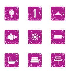 cheap motel icons set grunge style vector image