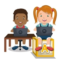 children interacting with laptop vector image