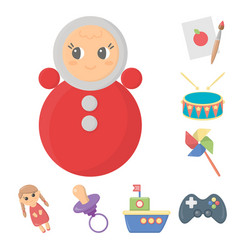 Children s toy cartoon icons in set collection for vector