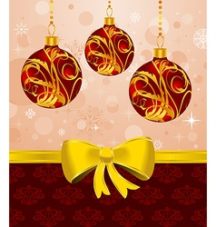 christmas card or background with set balls vector image