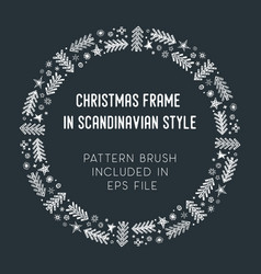 Christmas frame and brush with corner tiles vector