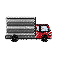 Color crayon stripe cartoon transport truck with vector