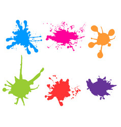 Color paint splatter paint splashes set vector