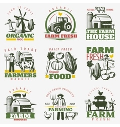 Colorful Farm Emblems Set vector image