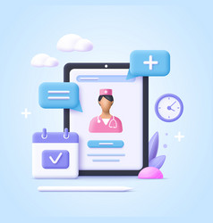 Concept online consultation doctor online vector