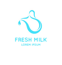 conceptual logo for the sale of milk vector image