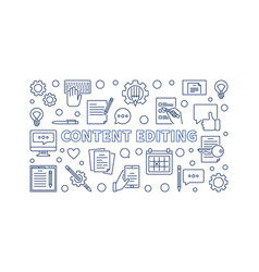 Content editing concept outline horizontal vector