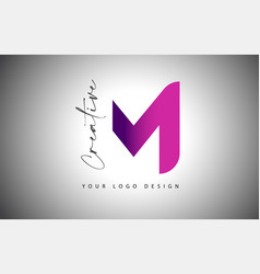 creative letter m logo with purple gradient and vector image