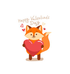 cute cartoon lovely red fox with pink large heart vector image