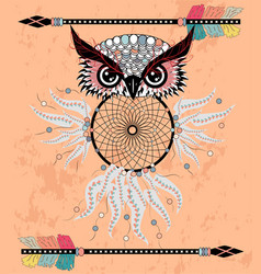 cute cartoon tribal owl with feathers on a white vector image