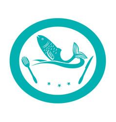 delicious fish sea food vector image