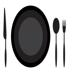 Dining etiquette plate spoon knife and fork vector