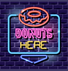 donuts neon advertising sign vector image
