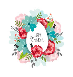 easter poster with flowers egg vector image