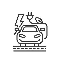 Electromobile - modern single line icon vector