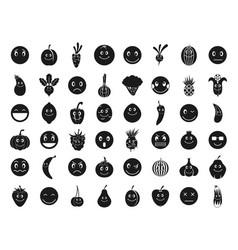emoji icon set simple style vector image