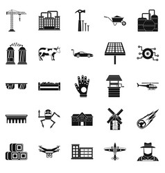factory production icons set simple style vector image