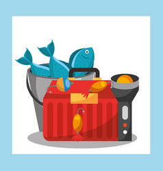 Fishing equipment related vector