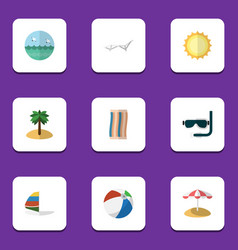 Flat icon season set of surfing coconut sunshine vector